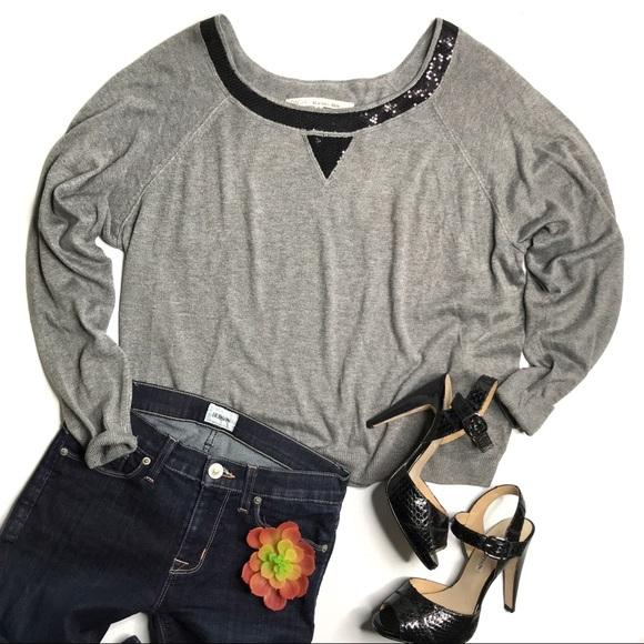 RACHEL Rachel Roy Sweaters - RACHEL Rachel Roy Sequin Trim Gray Sweater